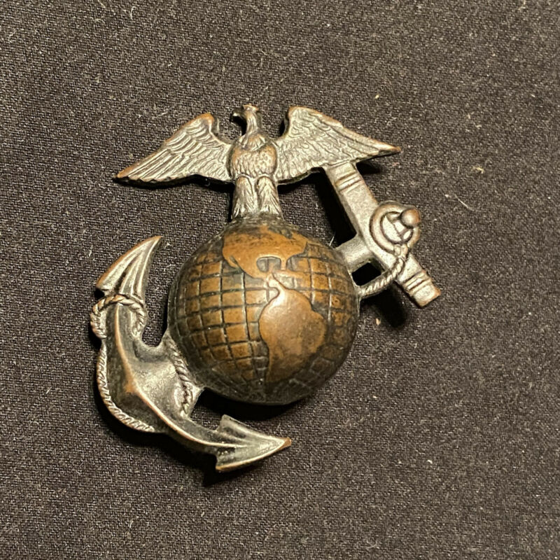 Original WW1 USMC EGA Eagle & Anchor Visor Badge Marine Corp