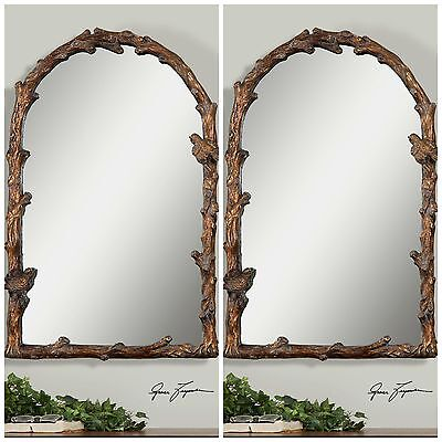 "TWO NEW 37"" AGED GOLD LEAF ARCH WALL MIRROR BIRD ON BRANCH OLD WORLD TUSCAN"