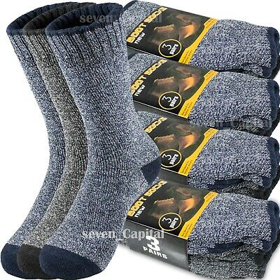 3-12 Pair Mens Winter Thermal Warm Heavy Duty Cotton Crew Work Boots Socks -