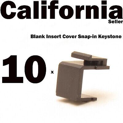 Faceplate Blank Insert - 10 Keystone Blank Insert Cover Snap-in Wall Face Plate Hole Jack RJ45 CAT3 Black