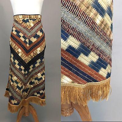 Vintage 1970s Ethnic HIPPY HIPPIE BOHO PRAIRIE Knitted Patchwork SKIRT XS Fringe