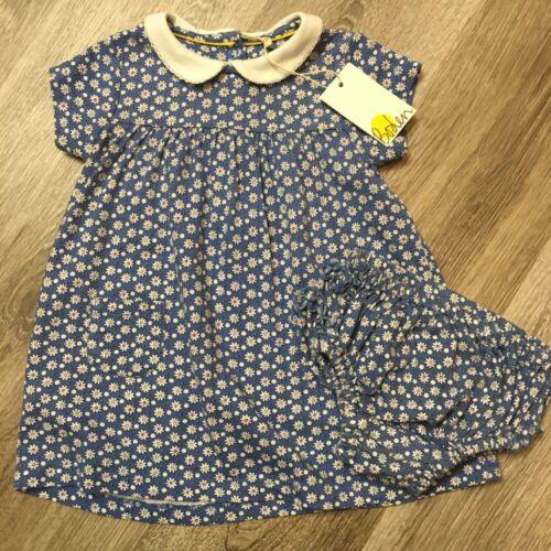 Mini Boden Baby Girl Ivory Blue Daisy Dot Dress & Ruffle Diaper Cover 0-3