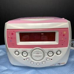 RARE Hello Kitty Pink CD Player Radio Dual Alarm Clock Model KT2053 TESTED
