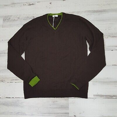 Malo Firenze Men V-Neck Sweater Brown Green Wool Cashmere Blend New Small Italy