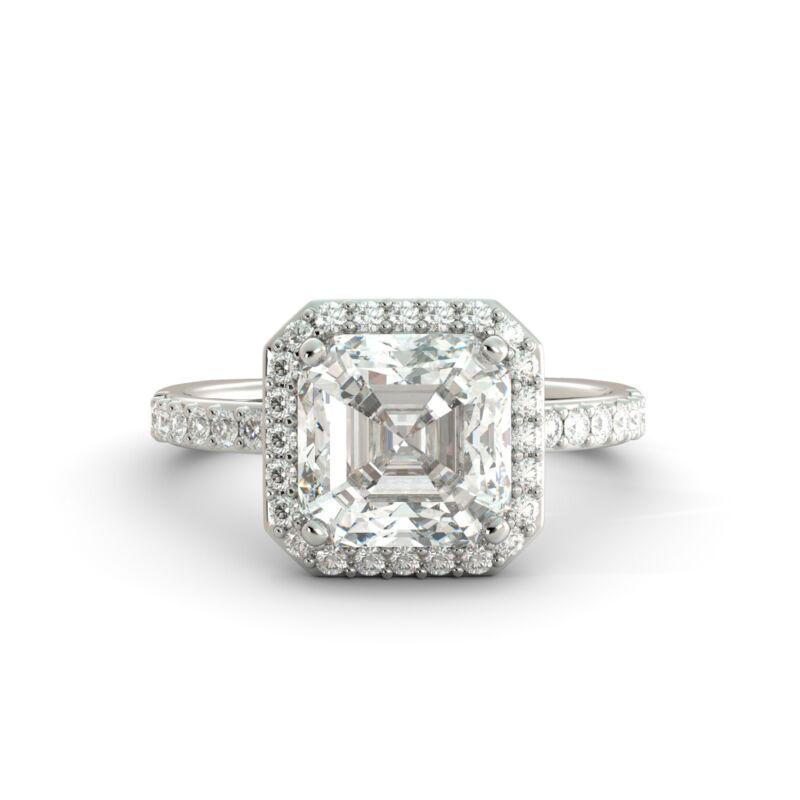 4.55 Ct Asscher Cut One Moissanite & Diamond Halo Engagement Ring 14k White Gold