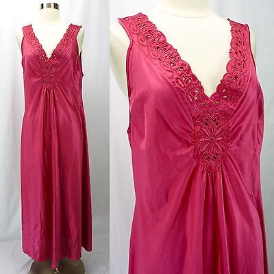 Vintage VANITY FAIR Dark Pink Nylon Nightgown (L) Embroidered Floral V-Neck