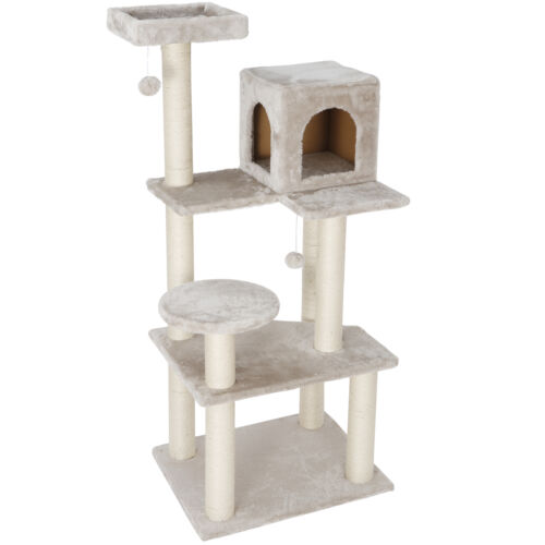 56 Inch Cat Tree Activity Tower Pet Kitty Furniture Sisal Rope Plush Fabrics Cat Supplies