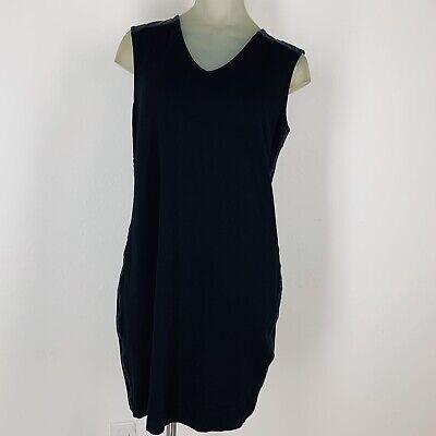 Trim Ponte Knit Dress (Chicos women's dress black Ponte knit sleeveless Faux Leather Trim Size 6)