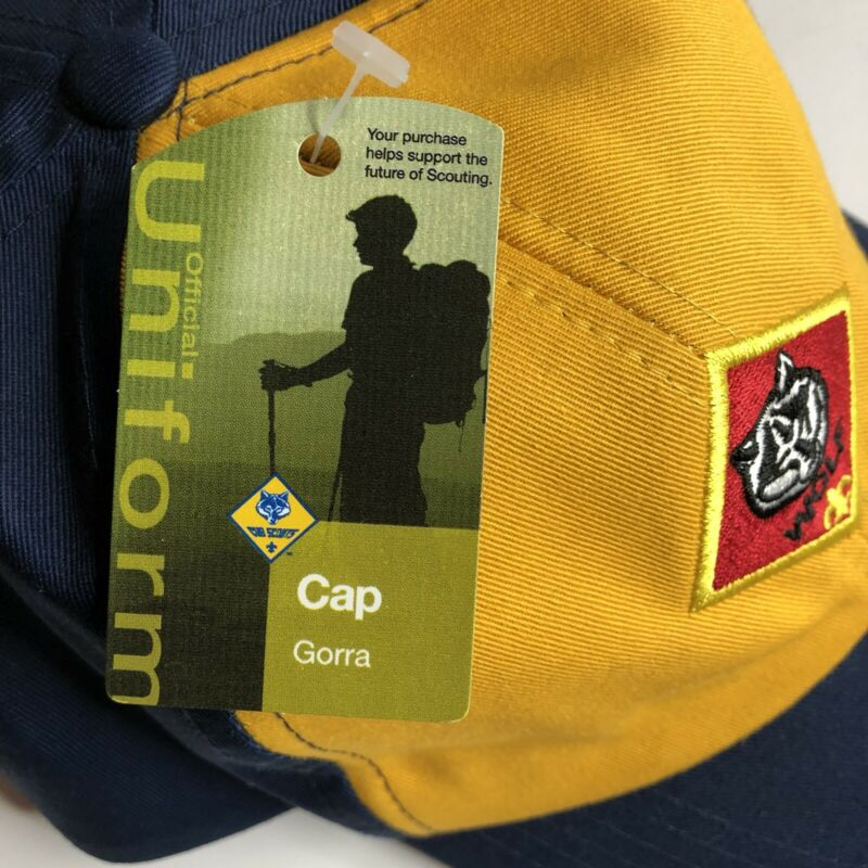 BSA Boy Cub Scout Cap Hat Twill Blue Gold Wolf Patch Youth M/L Adjustable NEW