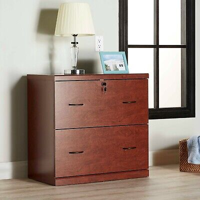 2 Drawer Lateral Locking File Cabinet Home Office Furniture Shelf Wooden Cherry