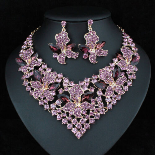 Lily Purple Austrian Crystal Rhinestone Necklace Earrings Set Prom Bridal N917p