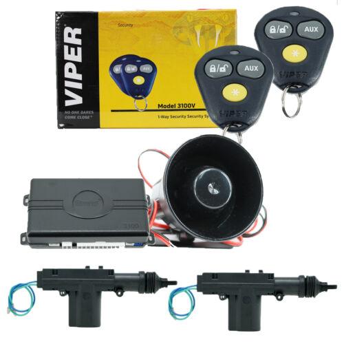 Viper 3100V Keyless Entry Car Alarm System + 2 Universal Door Lock Actuators New