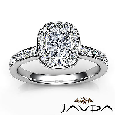 Cushion Cut Halo Pre-Set Diamond Engagement Ring GIA G Color VS2 Platinum 0.87Ct 3