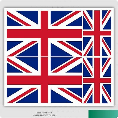 4 x Union Jack / British Flag Stickers for Car Van iPad Laptop Self Adhesive