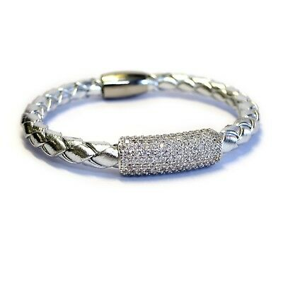 Women's Sterling Silver Glam Bar Leather Bracelet Metallic