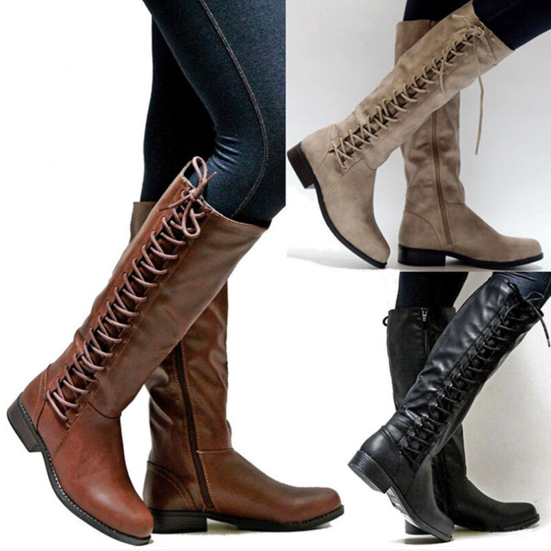 Women Knee High Lace Up Fashion Military Combat Boots Punk S