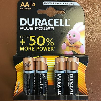 AA Duracell PLUS POWER Alkaline Battery MN1500 LR6 - Pack of 4 Batteries