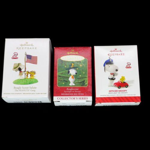 3 Hallmark Keepsake Ornament Peanuts Lot - Officer Snoopy, Beagle Scout Salute