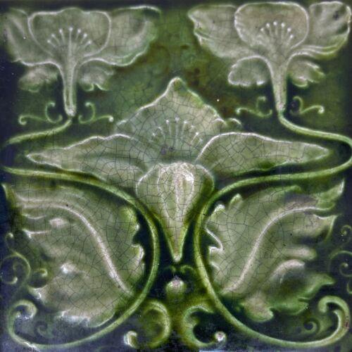 Antique 1901 English Art Nouveau  Green Majolica Tile Henry Richards Tile Co.