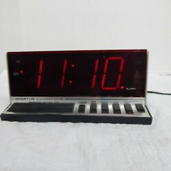 Vintage Spartus Electronic Digital Alarm Clock Hi Tech Model 1150 Works Red LED