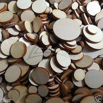 "1/2 LB Random Solid Wooden Small Circle Laser Disc 1/8"" Thick Half Pound MIX Bag"