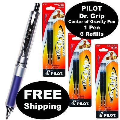 Pilot Dr. Grip Center Of Gravity Pen Blue Grip Black Ink With 3 Pk Of Refills