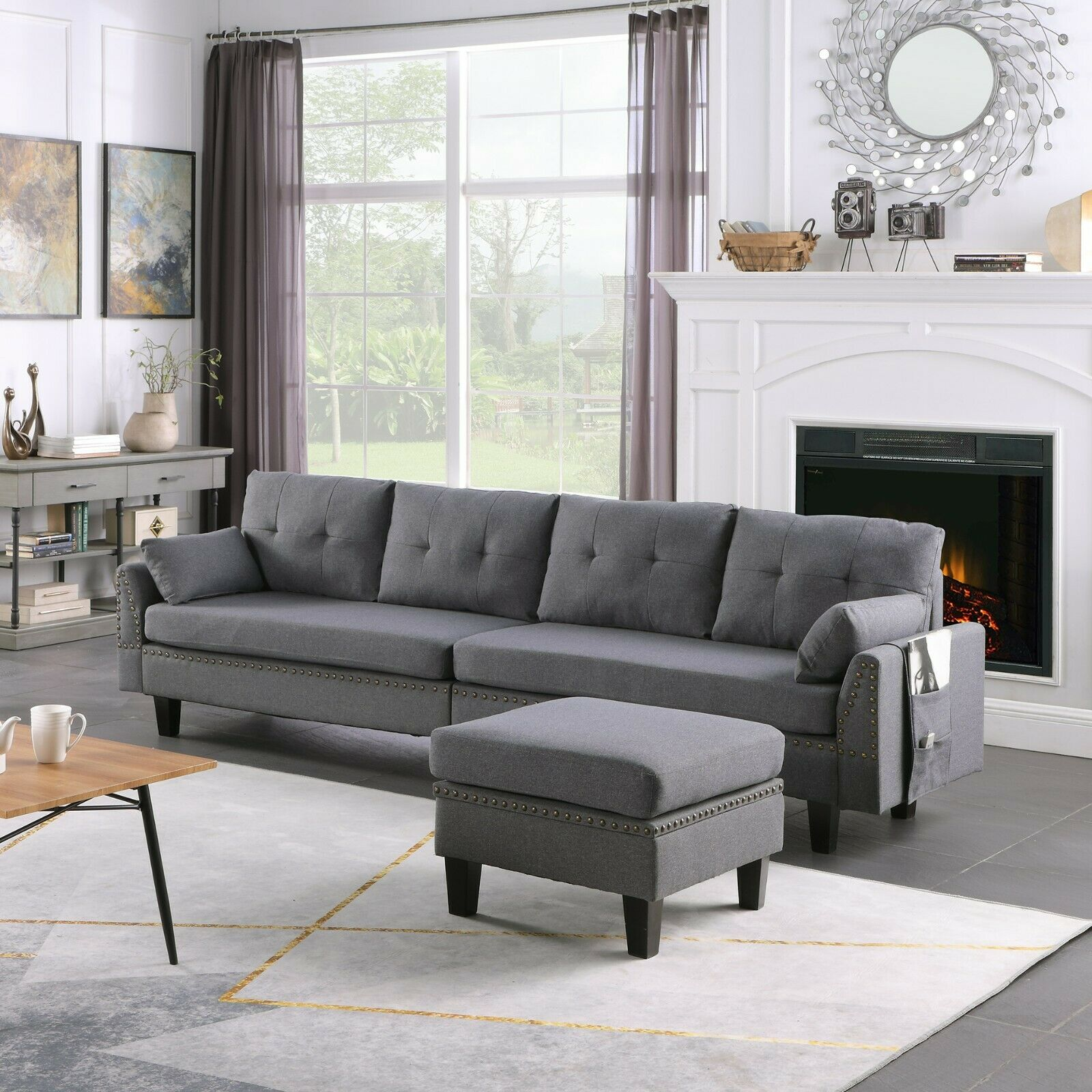 4-Seaters Sectional Sofa/Couch with Storage Ottoman Pillows Upholstered Fabric 3