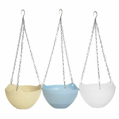 MyGift Set of 3 Colorful Self-Watering Hanging Planter Pots with Metal -