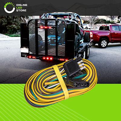 25' + 4' 18AWG 4-Way Flat Connector Wishbone Trailer Hitch Wiring Harness Kit (4 Way Flat Trailer Connector)