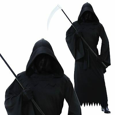 Mens Halloween Phantom Of Darkness Grim Reaper Ghoul Scythe Fancy Dress Costume