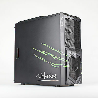 AvP Wolverine Green Midi Tower Gaming PC Case Inverted USB 3.0 Green LED