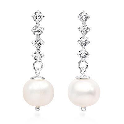 Classy Freshwater Pearl CZ Stick Sterling Silver Post Drop Earrings Freshwater Shiny Earrings