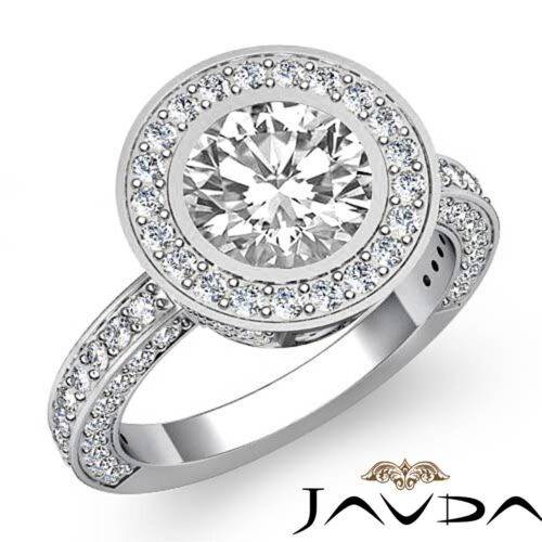 3ct Round Diamond Bezel Halo Set Engagement Ring GIA F Color VS2 14k White Gold
