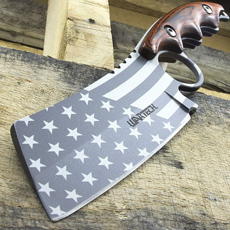 "8.25"" WARTECH PROUD AMERICAN USA FLAG FULL TANG SKINNING HUNTING KNIFE Cleaver"