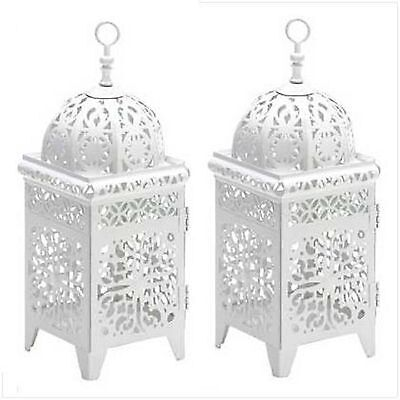 10 WHITE SCROLLWORK CANDLE LANTERN WEDDING CENTERPIECES on Rummage