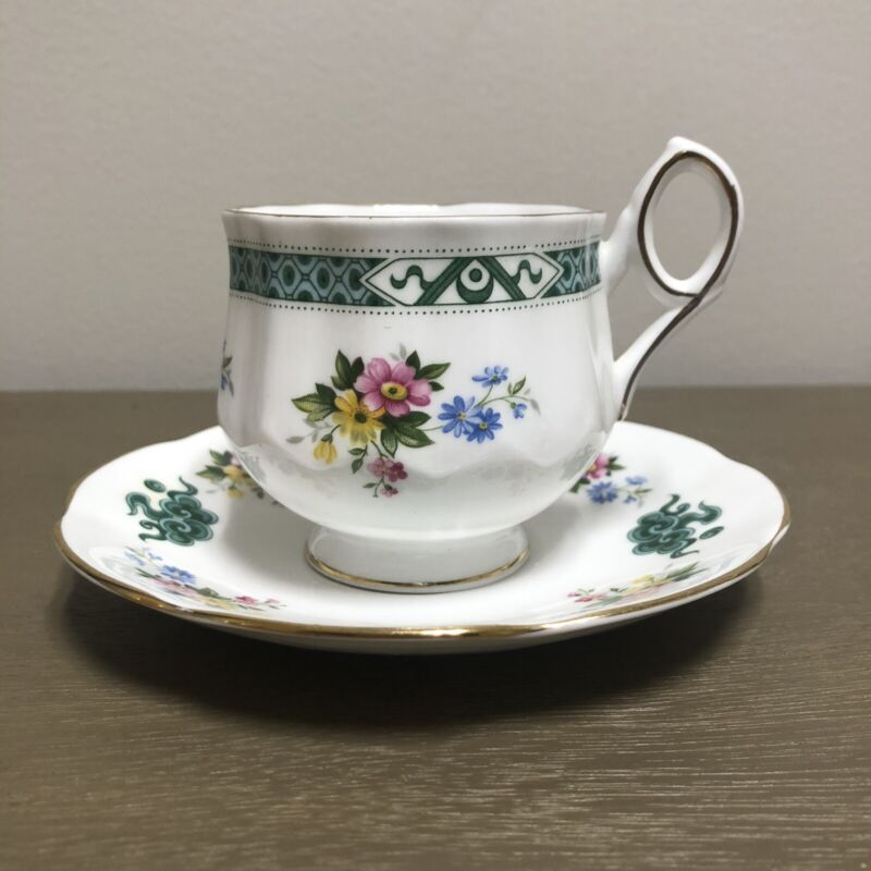 Rosina Fine Bone Floral China Teacup + Saucer - Made in England