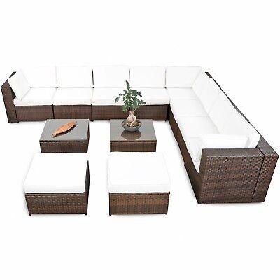 35tlg XXL Polyrattan Gartenmöbel Garten ECK Lounge Möbel Set Garnitur  Sitzgruppe