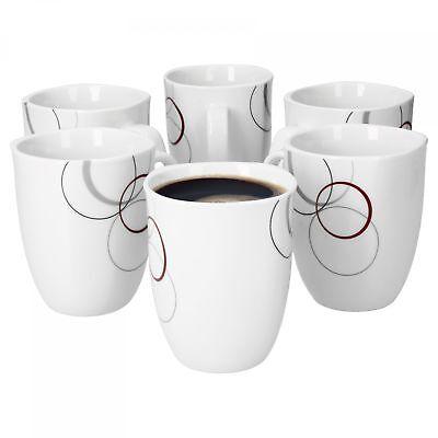 6 Becher Set (6er Set Kaffeebecher Palazzo weiß 33cl Porzellan Kaffeetasse Tee Tasse Becher)