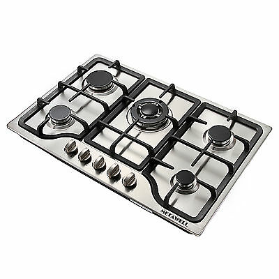 METAWELL 30inch Iron Frame Stainless Steel Panel 5 Burner Na