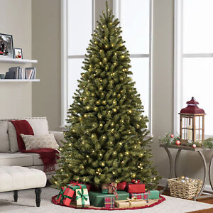 bcp 9ft pre lit spruce hinged artificial christmas tree w 900 lights stand