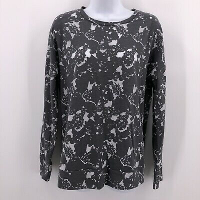 Fabletics Sz M Gray Burnout Long Sleeve Pullover Lightweight Top Camo Athletic