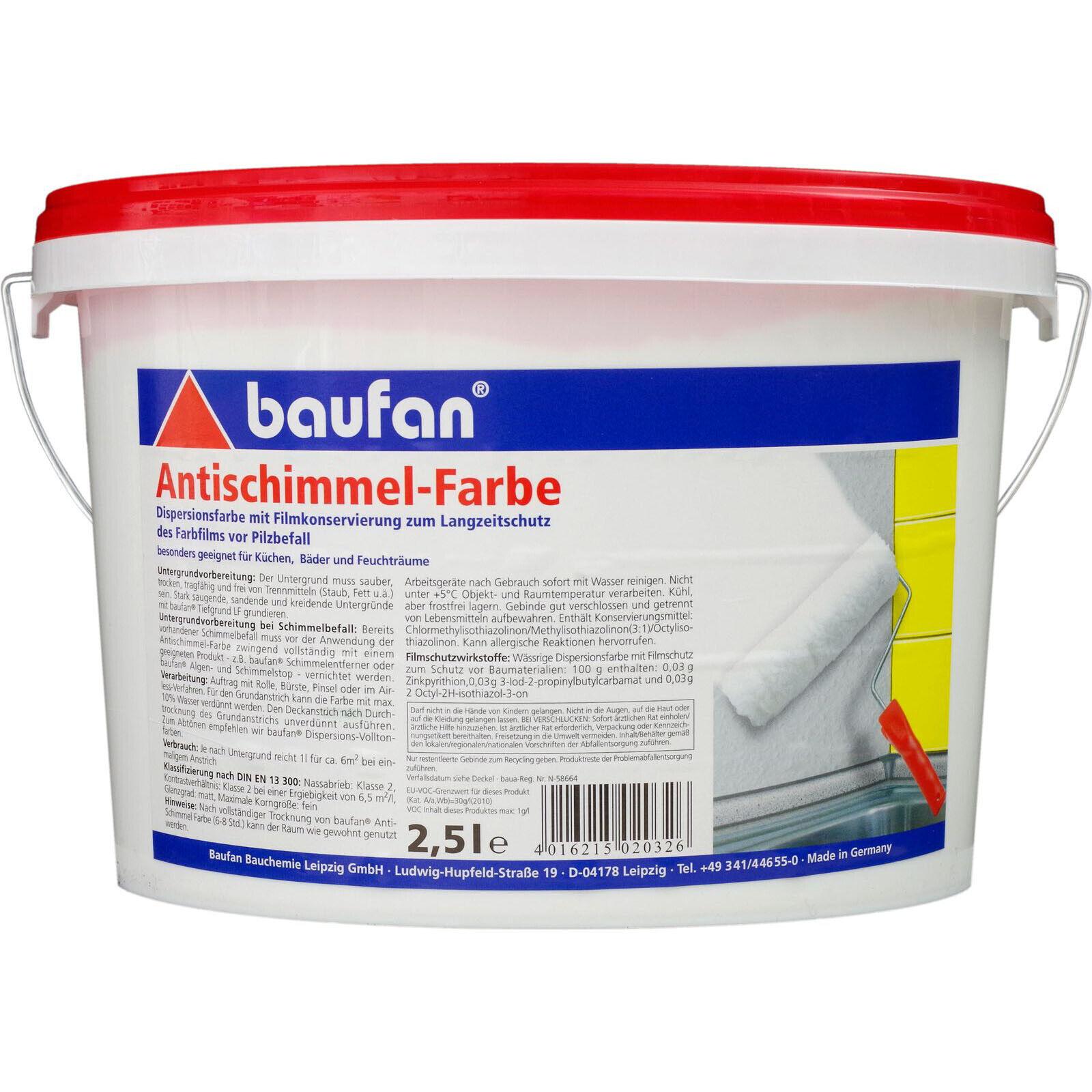 Baufan Antischimmel-Farbe 2,5 l Dispersionsfarbe lösungsmittelfrei (5,37€/1l)