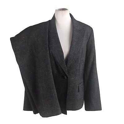 LE SUIT Women 2 PC Gray Metallic Pant Suit 16