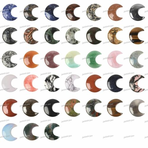 32mm Gemstone Crescent Moon Shape DIY Jewelry Making Kit Wrapping Natural Stone