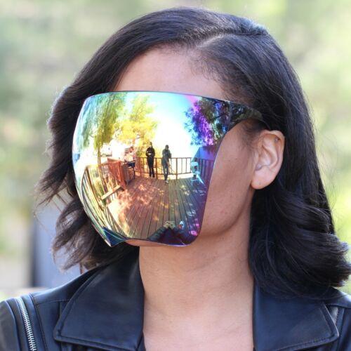 New 2021 Fashion Mirrored Reflective Plastic Face Cover Shield SPACE Sunglasses