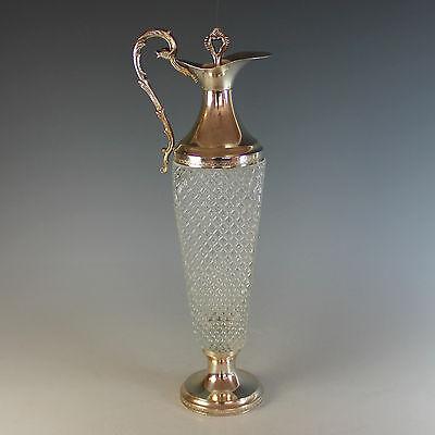 Unusual Italian Silverplate and Cut Glass Claret Jug Carafe Silver Plate