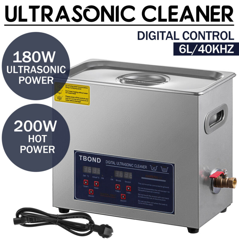 6.5L Professional Digital Ultrasonic Cleaner Machine with Timer Heated Cleaning