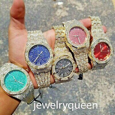 Diamond Luxury Watch - Luxury Men's 14k Gold Tone  Simulated Lab Diamond Hip Hop Rapper Watch