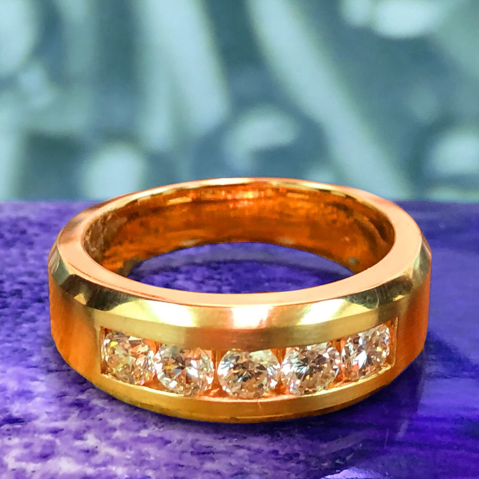 1.00 CT Channel Set Diamond Mens Wedding Ring in 14k Yellow Gold NEW! 1