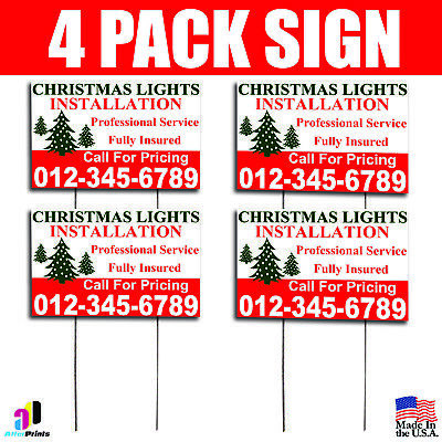 4X Christmas Lights Installation Yard Signs Your Phone Number Fully Insured](Christmas Yard Signs)